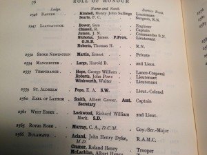 Masonic Roll of Honour 1914 - 1918 Page 78 contains Lodge Temperance 2557