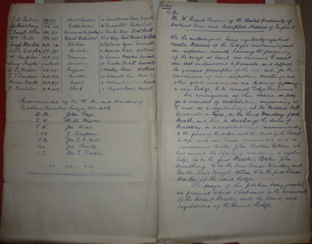 Petition of Lodge Temperance 2557