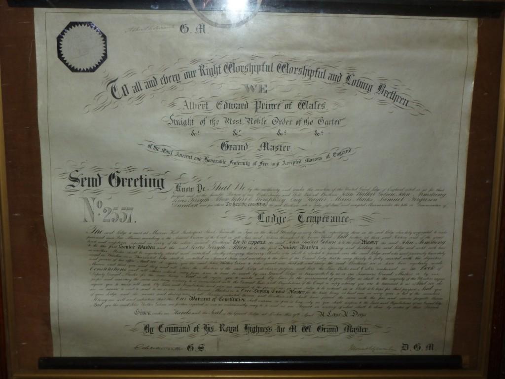 Lodge Temperance Warrant